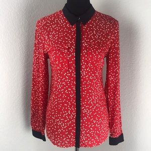 Anthropologie Maeve Red & White Polka Dot Blouse